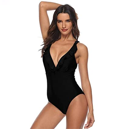 4832ce15a7 Women's One-Piece Swimsuit Sexy deep V - Neck Backless Beach Wear Solid  Color Padded