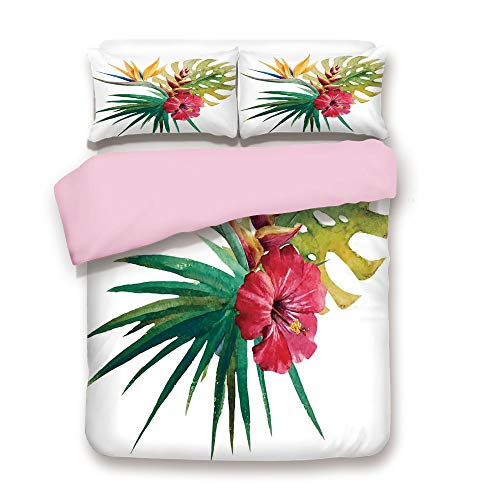 Pink Duvet Cover Set,Queen Size,Wild Tropical Orchid Flower with Large Leaves Exotic Tropic Petals Picture,Decorative 3 Piece Bedding Set with 2 Pillow Sham,Best Gift For Girls Women,Fuchsia Forest Gr