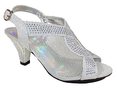 First Sight Womens Open Toe Mid Heel Wedding Rhinestone Sandal Shoes Kinmi03 (8.5, Silver)