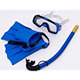 ZJchao 3Pcs Kids Snorkel Set - Swim Goggle, Breathing Tube, Diving Fin for 8-12.5 US Foot Size, Perfect for 6-10 years old Children Diving, Snorkeling and Swimming (Blue)