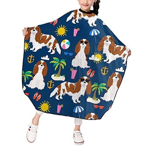 JinSPef Summer Vacation Dogs Beach Day Child Hair Salon Cutting Barber Hairdressing Cape for Kids Haircut Hairdresser Apron Cloth Styling Tool 39 X 47 in