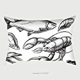 Custom Satin Pillowcase Protector Vector Hand Drawn Seafood Set Vintage Illustration 313666097 Pillow Case Covers Decorative