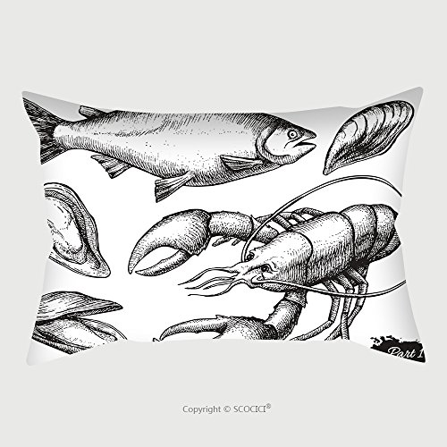 Custom Satin Pillowcase Protector Vector Hand Drawn Seafood Set Vintage Illustration 313666097 Pillow Case Covers Decorative by chaoran