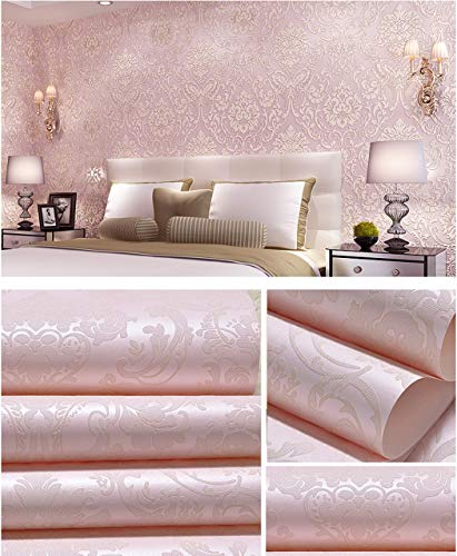 (TaoGift Peel and Stick Damask Wallpaper Self Adhesive Contact Paper Shelf Drawer Liner Wall Sticker Arts Crafts DIY Decor (Pink, 20.86
