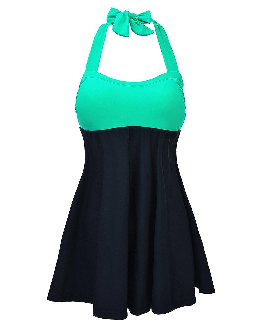 Green & Black JOYMODE Women's Halter Swimwear One Two Piece Swimsuit Skirtini Swimdress with Boyshort