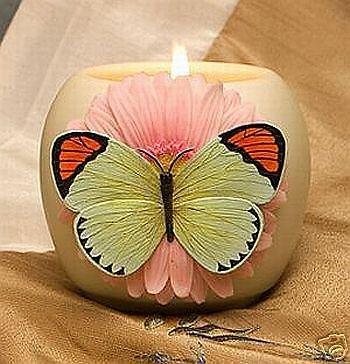 Daisy Votive - Retired Orange Tip Butterfly on Gerber Daisy Flowers of Light Votive 21034