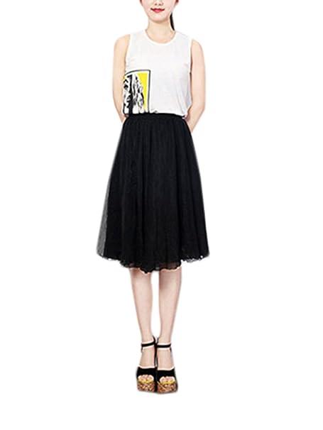 Faldas Damas hasta La Rodilla Elegante Verano Cintura Alta Línea A Joven Bastante Swing Volantes Chiffon