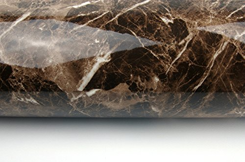 Marble Look Film Brown High Glossy Granite Effect Vinyl Self Adhesive Peel-Stick Brown Counter Top (2' X 6.56 ft) by Very Berry Sticker (Image #2)