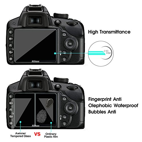 FilmPro Glass for for Nikon D3200 D3400 D3300 D3100,Camera Screen Protector Anti-scratch Tempered Glas (2-Pack)