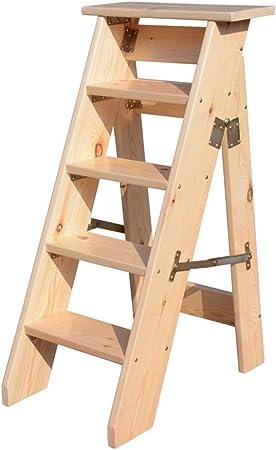 DY 5 Pasos, Escalera Plegable de Madera Maciza Escalera para Taburete, Escalera de Madera de Interior para Adultos Estantes para Plantas Jardín Herramienta de Trabajo Pesado, Cojinete de Carga 150 kg: Amazon.es: