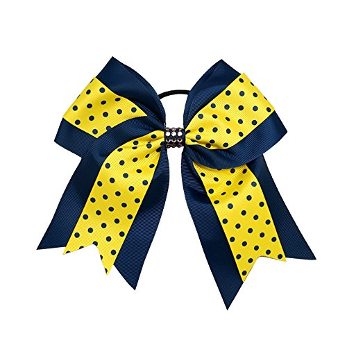 Sports Novelties Hair Bow Ties, Navy Blue/Gold (Bows Gold Cheer Blue And)