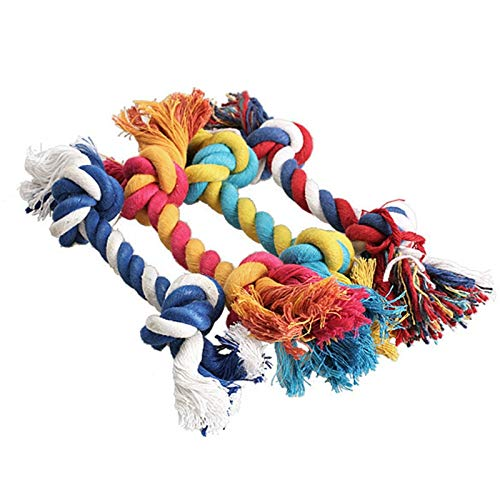 1 pcs Pets dogs pet supplies Pet Dog Puppy Cotton Chew Knot Toy Durable Braided Bone Rope 15CM Funny Tool (Random Color)
