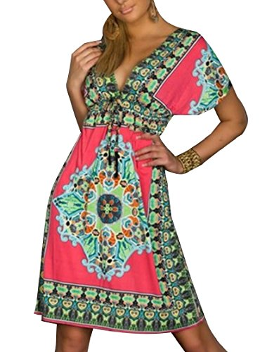 Sleeve Dress V Women Boho Red Cocktail Print Floral Neck Short Chiffon Jaycargogo a60qw