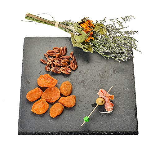 - YCD Ziran Marble food plate black slate cheese board dessert plate Perfect for serving appetizers and gourmet cheeses (2525cm)(Square)