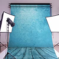MOHOO 5x7ft Cotton Polyester Photography Backdrop Background Photo Studio Prop Ocean Blue Wood Floor Washable Backdrop Studio Prop1.5x2.1m