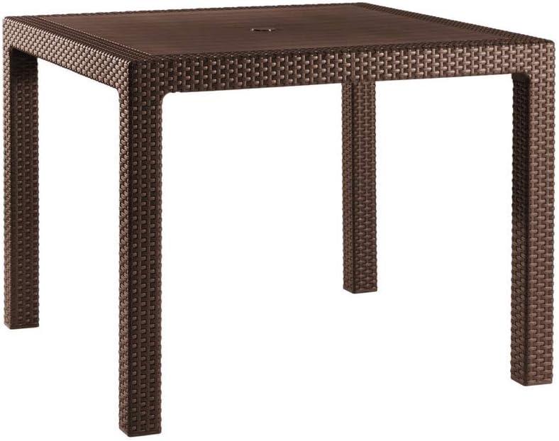 Keter - Mesa de comedor exterior Quartet de 4 plazas, Color marrón
