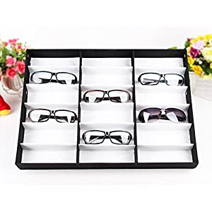 PaPafix Eyeglasses Eyewear Organizer Display Storage Case Hold 18 pieces, Also for Watches and Jewelry