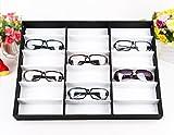 Korie 18 Pcs Eyeglasses Sunglass Display Case,18 Slot Storage Tray for Eyewear Jewelry Watches (Black)