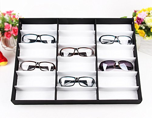 Billti 18 Pcs Eyeglasses Sunglasses Glasses Display Case for Multiple Pairs of Glasses & Watches Jewelry (18 Pcs)