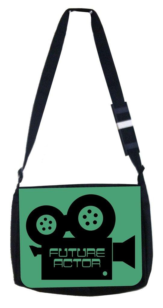 Future actor green camera Rosie Parker Inc TM Medium Sized Messenger Bag 11.75 x 15.5 and 4.5 x 8.5 Pencil Case SET