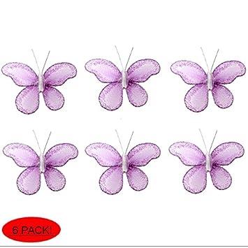 High Quality Butterfly Decor 2u0026quot; Purple Lavender Mini X Small Glitter Nylon Mesh  Butterflies 6 Piece