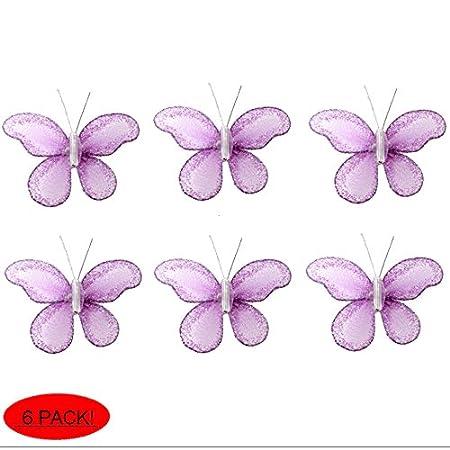 Butterfly Decor 2u0026quot; Purple Lavender Mini X Small Glitter Nylon  Butterflies 6 Piece Decorations