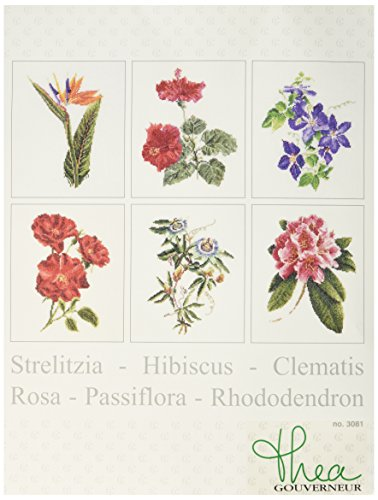 Thea Gouverneur 36 Count Counted Cross Stitch Kit, 6-3/4 by 8-Inch, Floral Studies 1 on Linen, Set of ()