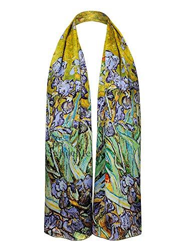 Swhiteme Luxurious 100% Silk Charmeuse Long Scarf (Vincent Van Gogh's -