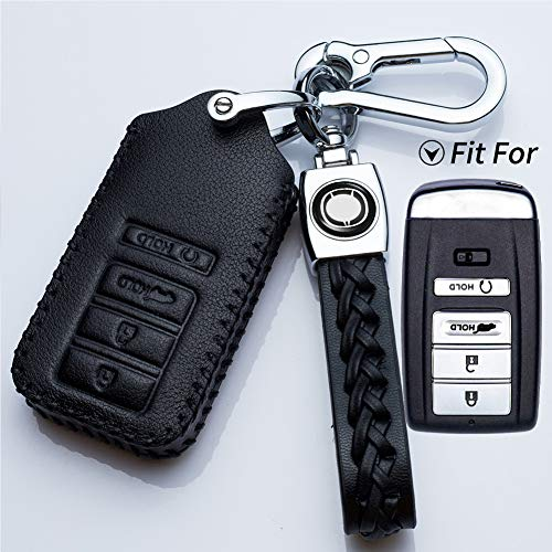Hey Kaulor Compatible with fit for 2016-2018 Acura RLX, 2015-2019 Acura TLX, 2016-2018 Acura ILX 4 Buttons Smart Leather Case Key Fob Cover Keyless Car Remote Holder KR5V1X, Case & Key Ring
