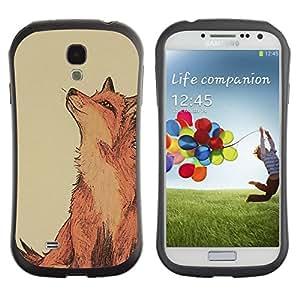LASTONE PHONE CASE / Suave Silicona Caso Carcasa de Caucho Funda para Samsung Galaxy S4 I9500 / Cute Drawing Red Smart Nature