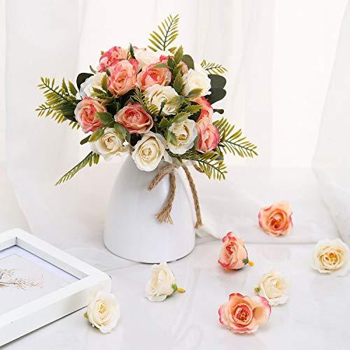 Aurdo Artificial Flowers,Fake SilkVintageRoseFlowersBouquet for Room,Kitchen,Garden,Wedding, PartyDecor (2 Pack) (Beige)