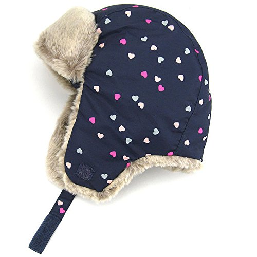 Moon Kitty Baby Girls Winter Hats Candy Colored Earmuffs Cap Navy 4-6Years