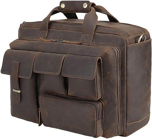 Tiding Mens Leather Briefcase Messenger Bag Vintage 17.3 Inch Laptop Shoulder Bag