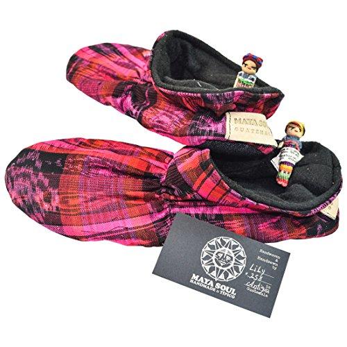 Maya Soul Handmade Native Tribal Guatemalan Super Soft Squishy Slippers :: Tropical Fuchsia (Women's 8-9)
