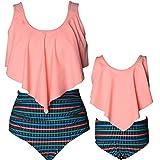 HengShunRui Mommy and Me Swimsuits High Waist Ruffle Print Bikini Set Mom and Daughter Matching Bathing Suit