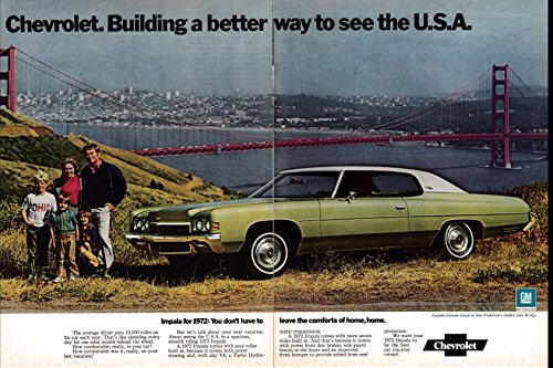 1972 Chevrolet Impala Coupe-San Francisco Golden Gate Bridge-Original 2 Page Magazine Ad ()