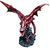 Large 20.5'' Long Fire Solar Burning Aro Dragon Flying In Attack Statue Sculpture