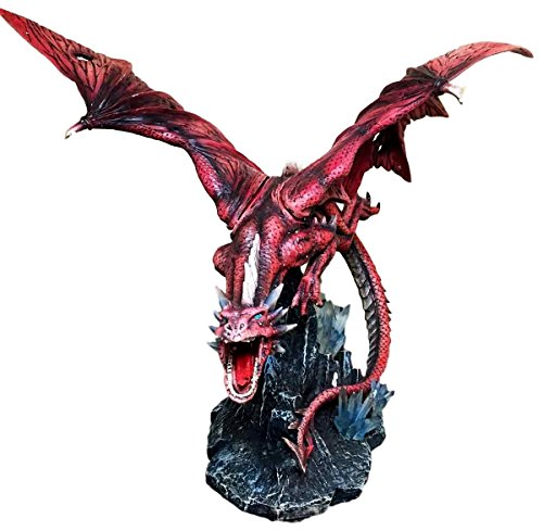 Large 20.5'' Long Fire Solar Burning Aro Dragon Flying In Attack Statue Sculpture by Gifts & Decor