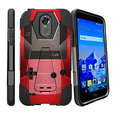 (MINITURTLE Case Compatible w/LG Stylo 3 Case w/Stand, Stylo 3 Plus Slim Case [Shock Fusion] Hybrid Shock Resistant Dual Layer w/Stand Cover Red Gameboy Color)