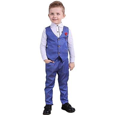 2482c609b6b3e Bébé garçon Tuxedo Costume Formel Gentleman Polo à Manches Longues +  Pantalon + Gilet 3 pièces