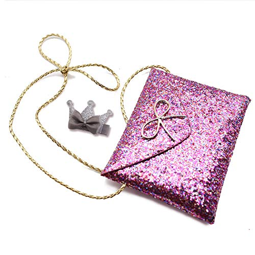 Kids Crossbody Bag, Glitter Crossbody Purse HandBag Toddler Kids Purse Sparkly Crown Hair Clip with Bowknot Sequins Crow Hairpin for Little Girls,Daughter, Grand-daughter or Niece on Christmas