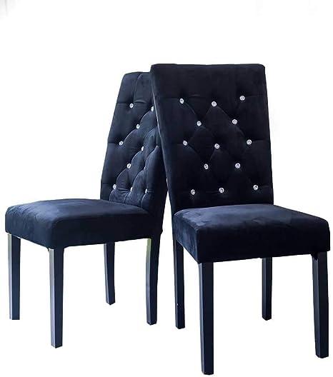 Chaise de salle à manger en velours capitonnée avec strass
