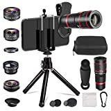 Aokin Phone Camera Lens Kit, 6 in 1 Cell Phone Camera Lens, 20x Telephoto Zoom Lens/Wide Angle/Macro/Fisheye/CPL Lens Clamps Strong Tripod Portable Package for iPhone Android and Tablets