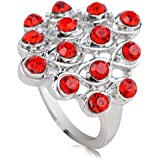 18K White Gold Plated Net-shape Red Crystal Ring Charm Jewelry CZ Rhinestone LOVE STORY (8#)