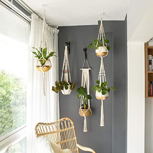 Mkono Macrame Plant Hangers Set of 4 Indoor Wall Hanging Planter Basket Decorative Flower Pot Holder with 4 Hooks for… 3