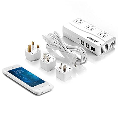 competitive price 03709 65b1e BESTEK Travel Adapter 220V to 110V Voltage Converter Power Strip with 4 USB  Charging Ports and Worldwide Plug Adapters + 3000mAh iPhone 6s/6 Battery ...