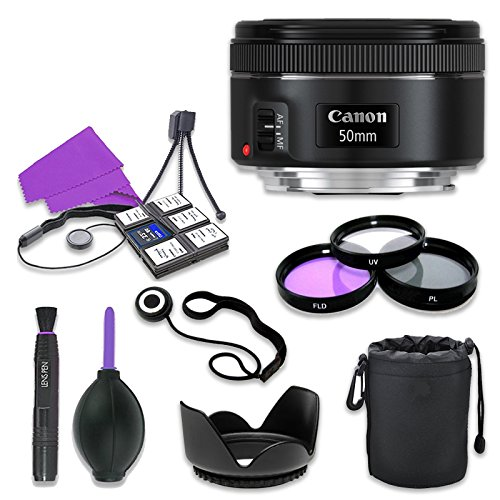 (Canon EF 50mm f/1.8 STM Lens for Canon Digital SLR Cameras with 49mm Filter Kit (UV, CPL, FLD) + Accessory Bundle (12 Items))