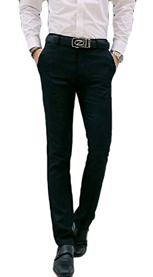 d8c1aee8230 Fieer Mens Business Casual Skinny Solid-Colored Dress Chino Pants Black S