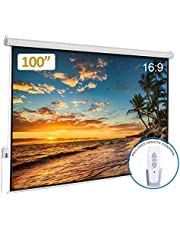Electric Motorized Projector Screen 100 inch 16:9 HD Diagonal with Remote Control, Wall/Ceiling Mounted Electric Movie Screen with Wrinkle-Free Design, Great for Home Office Theater TV Usage