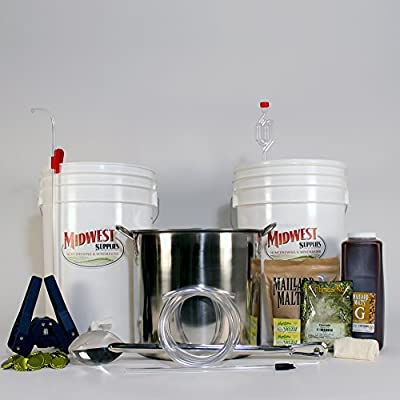 All Inclusive Platinum Pro Homebrew Beer Brewing Starter Kit with Front Porch Pale Ale Beer Recipe Kit and Brew Kettle